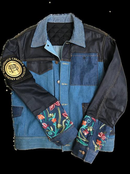 Mixed Denim Floral Jacket