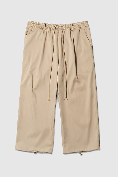 Wide Leg Cropped Trousers in Beige