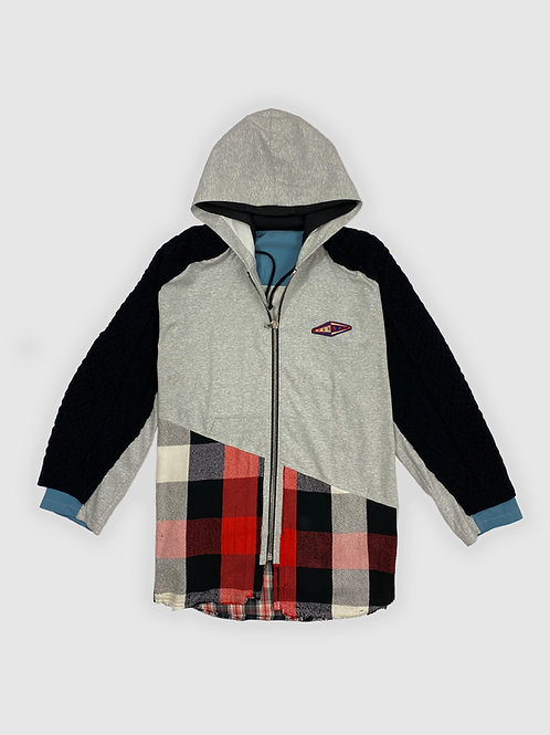 Upcycled Plaid Hooded Zip-up