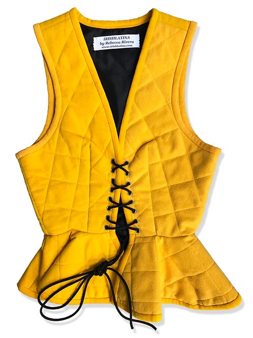 Peplum Corset Vest in Gold