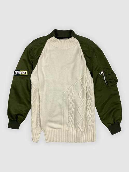 Cable Knit Bomber Hybrid