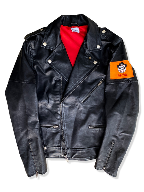 Faux Leather Jacket (orange)