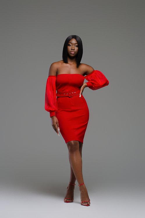 NAYELI | Red Off-Shoulder Dress