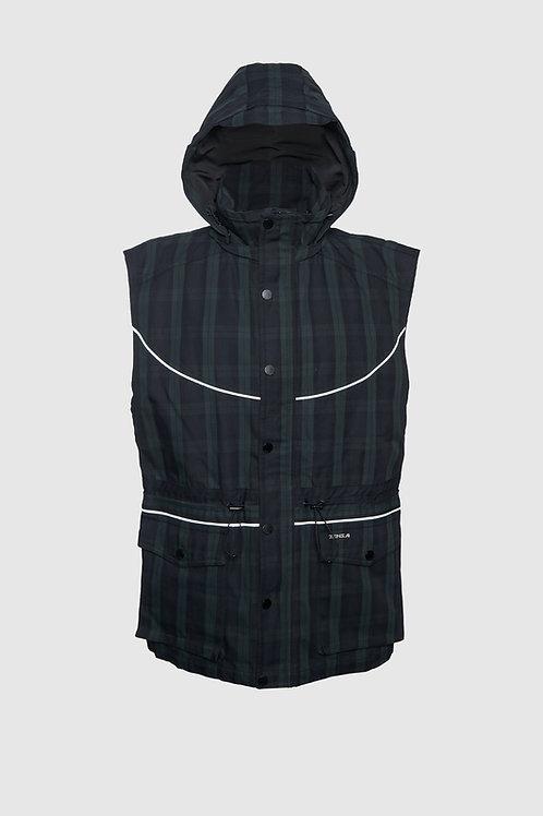 Denim Dress/Vest in Black & Green Plaid