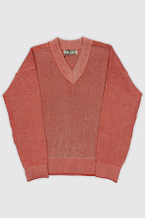 V-Neck Knit Sweater in Blood Orange