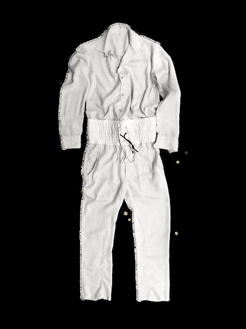 Linen Jumpsuit in Light Beige