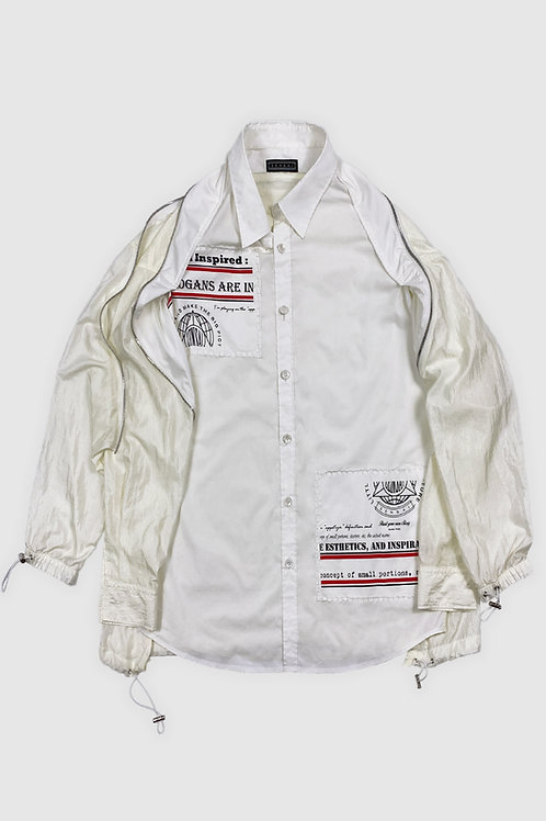 Zipped Parachute Button-Up in White