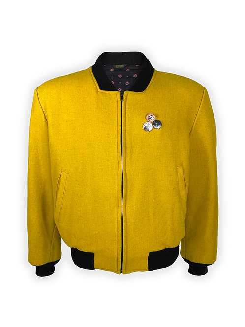 Black Power Collegiate Jacket in Yellow