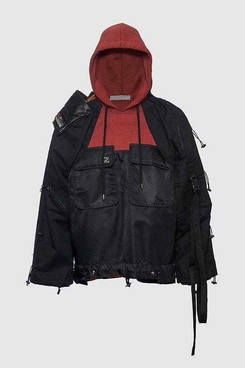 Knit Fusion Tactical Jacket in Black & Burnt Orange