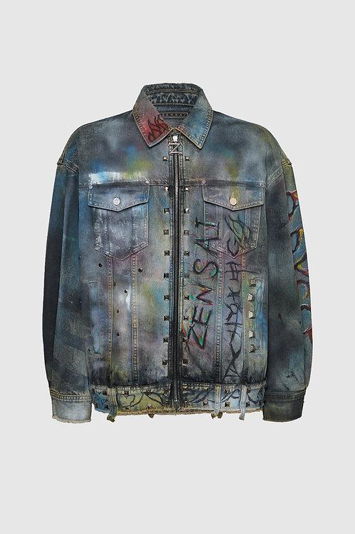Painted Distressed Denim Jacket