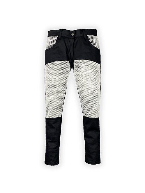 Stretched Denim & Mesh Pants [set]