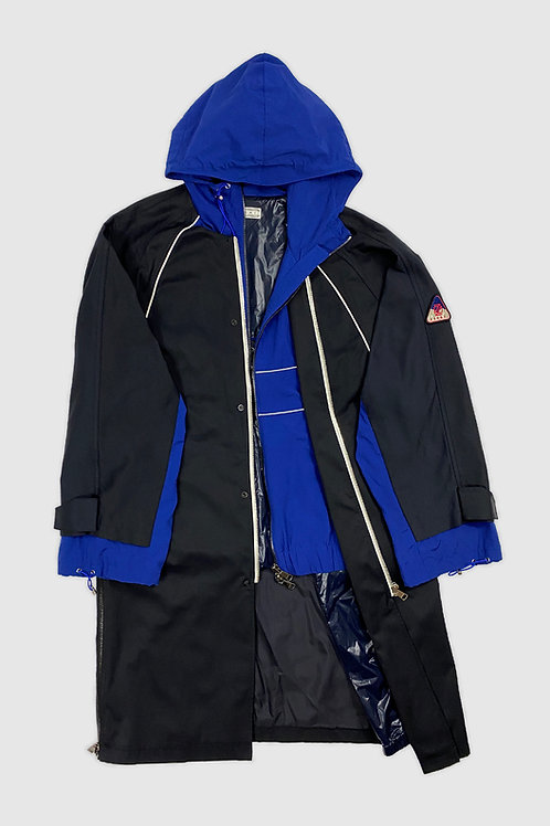 Parka Knit Trench in Black & Blue