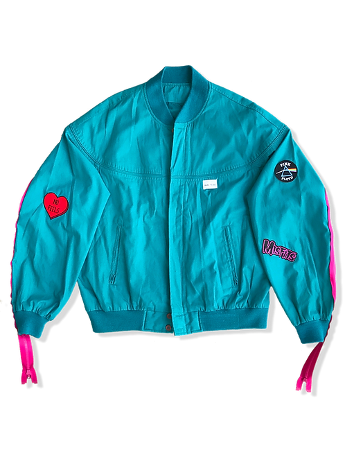 Teal 'Members' Patched Jacket