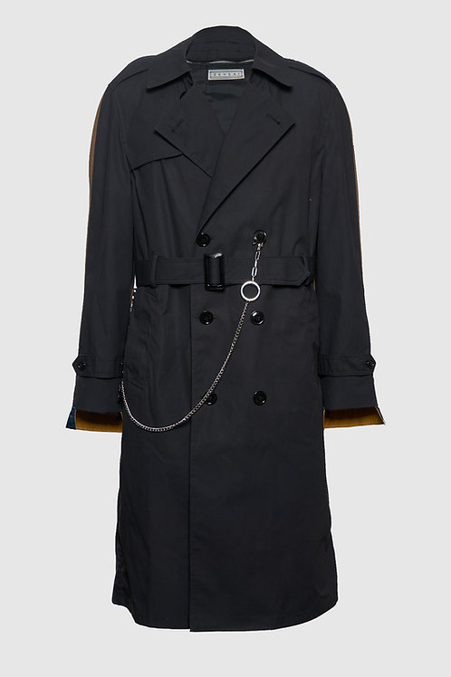 Two-Faced Trench Coat in Black & Brown