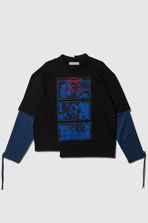 'Chaos is King' Layered Long Sleeve in Black & Blue