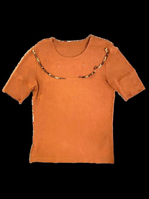 Orange Beadwork Tee