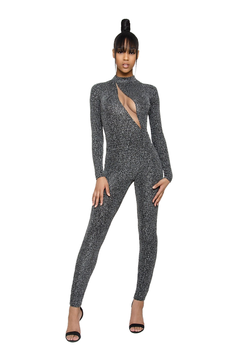 HUNNY   Sparkly Silver Jumpsuit