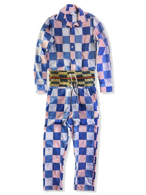 Checkered Jumpsuit in Pink & Blue