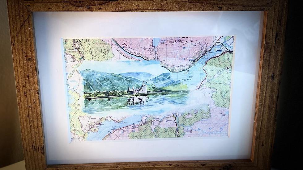 Kilchurn Castle painted on map framed print