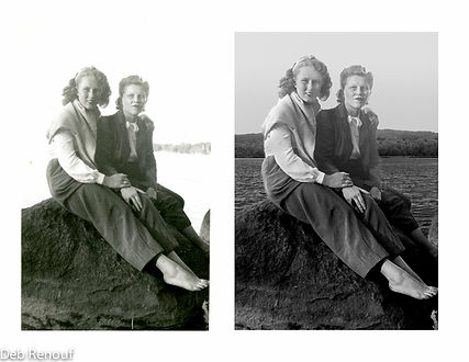 Mother and daughter enhanced and restored image