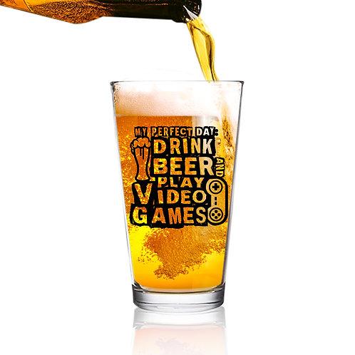 Drink Beer & Play Video Games Funny Gamer Beer Glass (16 oz)