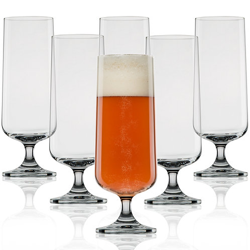 Nucleated Pilsner Beer Glasses for Better Head Retention - 18 oz - 6 Pack