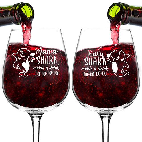 Mama & Baby Shark Needs A Drink Do Do Do Funny Wine Glass Set (12.75 oz)