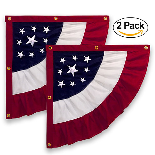 "27""x27"" USA Americana Patriotic Nylon Half Bunting Flag, 2 Sided, Embroidered St"