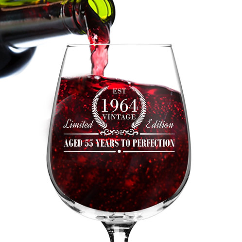 1964 Vintage Edition Birthday Wine Glass for Men and Women (55th Anniversary)