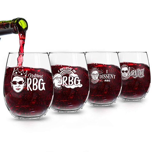 Set of 4 Ruth Bader Ginsburg Wine Glasses (15 oz) | Birthday Present for RBG Fan