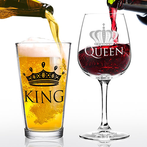 King Beer Queen Wine - 16 oz. Pint Glass - 12.75 oz. Wine Glass - Made in USA