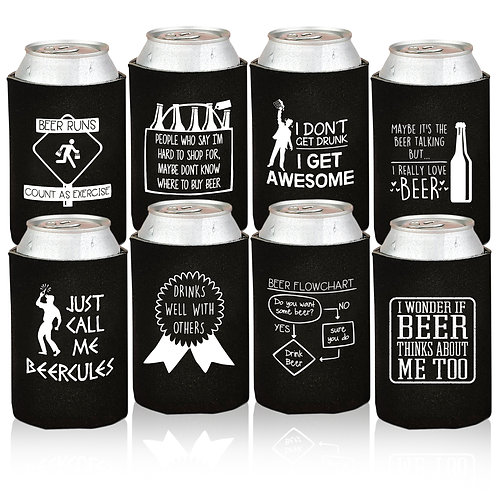 Funny Beer Can Coolers - 8 Pack - Gift for Men