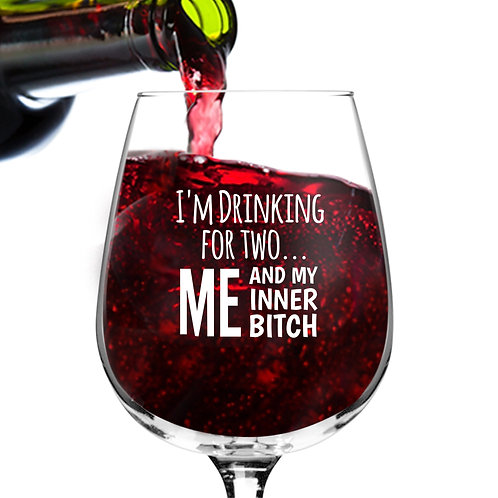 Drinking for Two Funny Wine Glass - 12.75 oz.- Made in USA