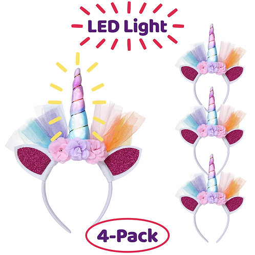 LED Unicorn Headbands - Pack of 4 Unicorn Headpieces with Glitter Ears