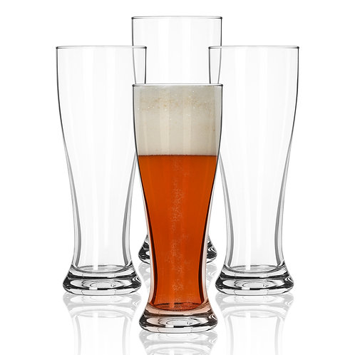Nucleated Pilsner Beer Glasses - 16 oz Craft Beer Glass - 4 Pack