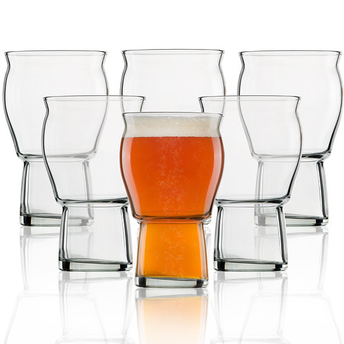 Nucleated Beer Pint Glass- A Beer Glass 6 Pack- 16 oz Craft Beer Glass