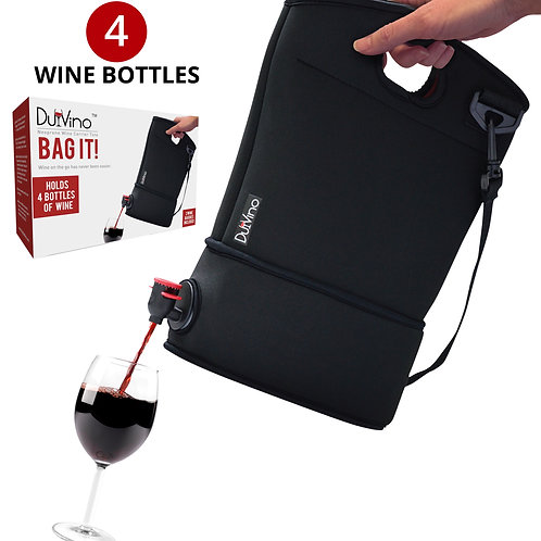 Wine Purse Tote + 2 Disposable Wine Baggies - Holds Up to 4 Bottles (Black