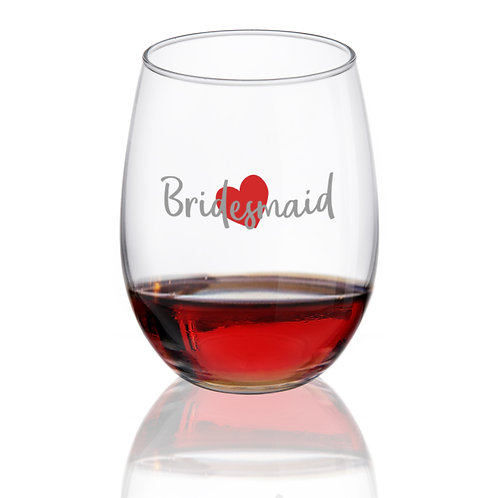 Bridesmaid Stemless Wine Glass - 15 oz. - Made in USA
