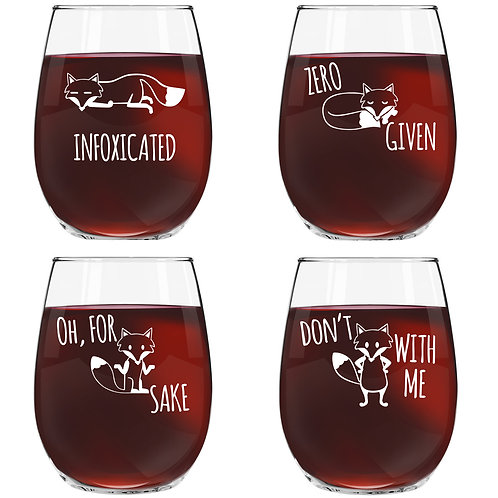 Fox Pack Funny Stemless Wine Glass (Set of 4) - 15 oz.- Made in USA