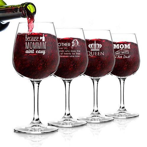 Funny Mom Wine Glasses Set of 4 (12.75 oz) - Birthday Present for Mom