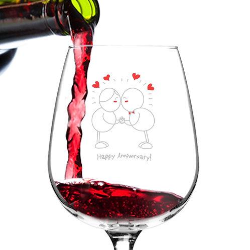 Happy Anniversary! Romantic Wine Glass- 12.75 oz. -Made in USA
