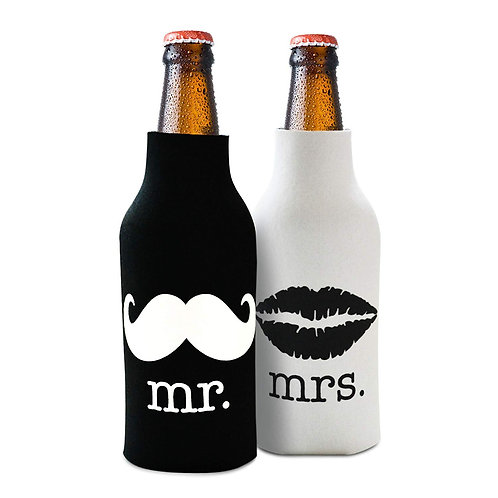 Mr. and Mrs. Bottle Cooler - Front and Back Print - Novelty Gift Set