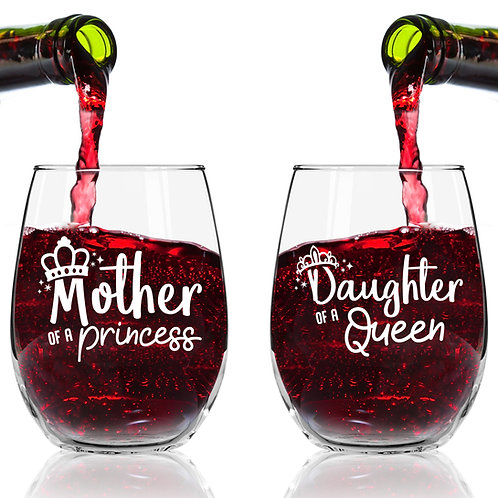 Mother Daughter | Queen Princess Stemless Wine Glass (Set of 2) - Made in USA