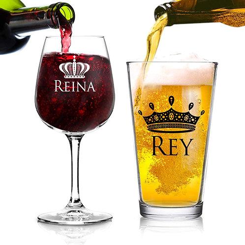 Juego de Regalo de 2 Copas para Cerveza y Vino, Rey y Reina