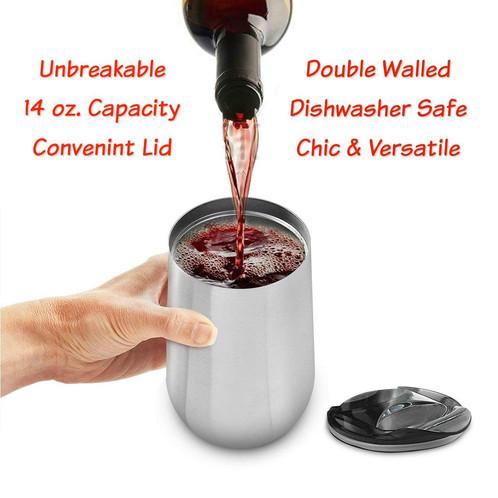 a94a113c6f1 Enjoy An Elegant Set of 2 Electropolished 18/8 Food Grade, Dishwasher Safe, Stainless  Steel Wine Cups With Lids.