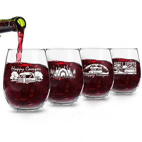 Set of 4 Happy Camper Wine Glasses (15 oz) | Cute Birthday Present