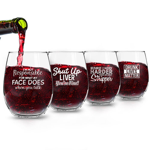 Set of 4 Crude & Rude Funny Wine Glasses (15 oz)- Novelty Glassware Gifts