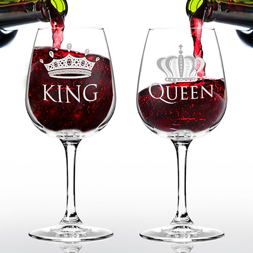 King Queen Wine Glass (Set of 2) - 12.75 oz - Made in USA