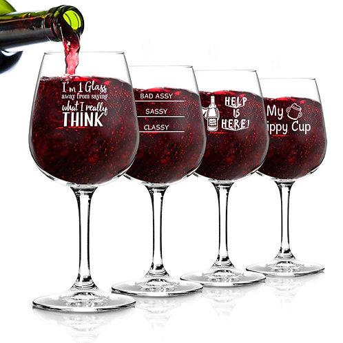 Funny Wine Glasses Set of 4 (12.75 oz)- Funny Novelty Wine Glassware Gift