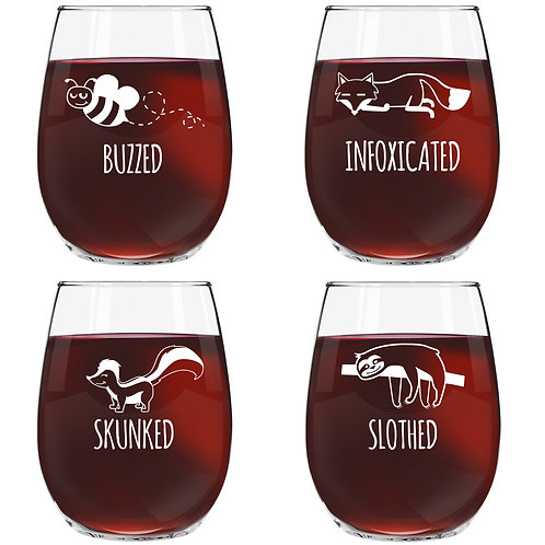 Animal Pack Funny Stemless Wine Glass (Set of 4) - 15 oz.- Made in USA